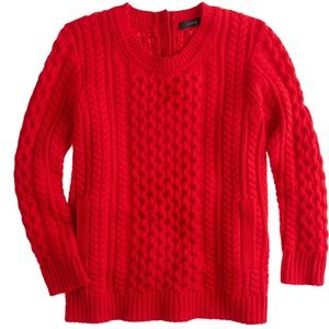J Crew Classic red cabled sweater. Small